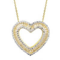 Double Heart Baguette Set 14k Gold Finish Pendant Valentine's
