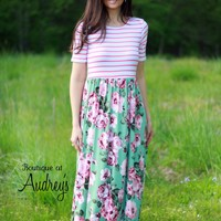Short Sleeve Maxi Dress with Coral Stripes and Mint Floral Print