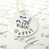 Personalized Cheerleader necklace Gift Hand stamped cheer leading custom necklace sports