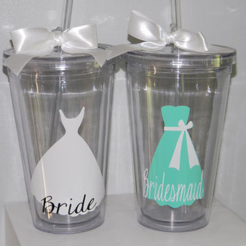Personalized Bridesmaid Gift Wedding Tumbler- Flower Girl Ring Bearer- Any Color Any Design Custom