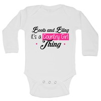Boots And Bling It's A Country Girl Tring Funny Kids Onesuit - B210