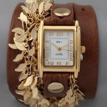 La Mer Collections Multi Leaf Charm Watch
