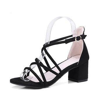 Strappy Chunky Heels Sandals for Women 5383