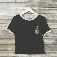 Pineapple Ringer Tee (Black)