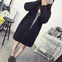 Korean    Knitted Sweaters  Long Sleeve Thicken Single Breasted Cardigans Long Sweater Outwear Coats