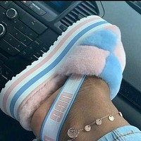 UGG Fashion New Color-blocking Plush Platform Slippers Sandals Furry Boots Shoes-3