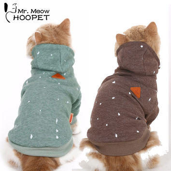 Cat Clothes Ink Printing Hoodies Hooded Sweater Fall And Winter Clothes Casual Warm Green&Brown Fashion Pet jacket