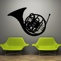 Wall decal art decor decals sticker music tool pipe musician wind bell French horn (m857)