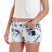 Bleached & Patched Low-Rise Shorts by Charlotte Russe