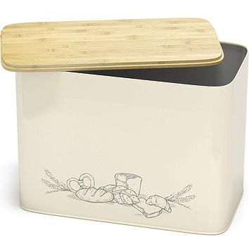 Space Saving Large Vertical Bread Box With Eco Bamboo Cutting Board Lid