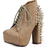 Women's Vintage Francheska-07 Taupe Pu Leatherette Spike Studs Bootie Shoes, Taupe PU, 6