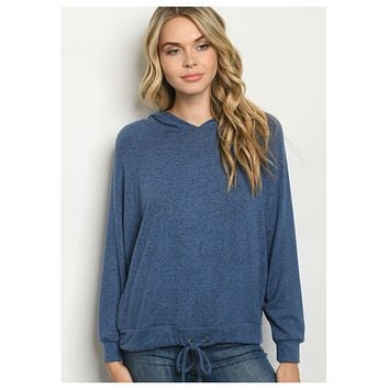 Cozy Cute Blue Hooded Sweater Top