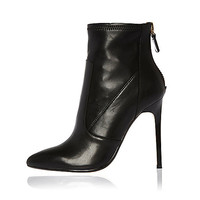 Black leather stretch heeled ankle boots - ankle boots - shoes / boots - women