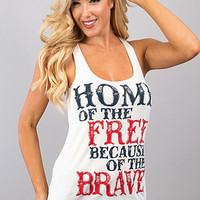 """White """"Home of the Free"""" Racerback Tank"""