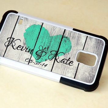 Personalized Country Mint Rustic Wood Phone Case for Couples, iPhone 4, 4s, 5, 5s, 5c, 6, 6s, 6 Plus, 6s Plus Case, Galaxy S4, S5, S6 Case