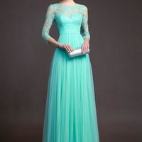 Turquoise Green Lace Pleated 3/4 Sleeve Elegant Fashion Ball Gown Prom Maxi Dress