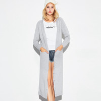 Casual Knit Button Down Long Sleeve Midi Cardigan