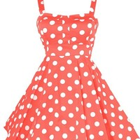 Ixia Polka Dot Fold Over Pinup Dress - Junior Cut-Red-Large