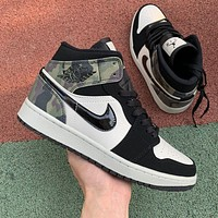 Air Jordan 1 Retro camouflage high-top sports basketball shoes