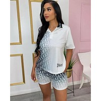 Christian DIOR Woman Casual Print Short Sleeve Top Shorts Set Two Piece