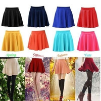 Fashion Women's Stretch Waist Plain Skater Flared Pleated Mini Skirt New = 1958804996