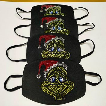 The Grinch Rhinestone Diamond Mask Collection ( Mask for the entire family)