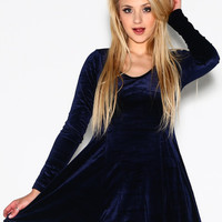 Blue Velvet Baby Doll Dress-LAST ONE