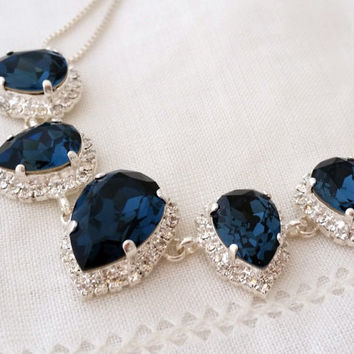 Navy blue Swarovski crystal necklace, Bridal necklace Statement necklace Bib necklace Bridesmaid gift Wedding jewelry, Silver or gold plate