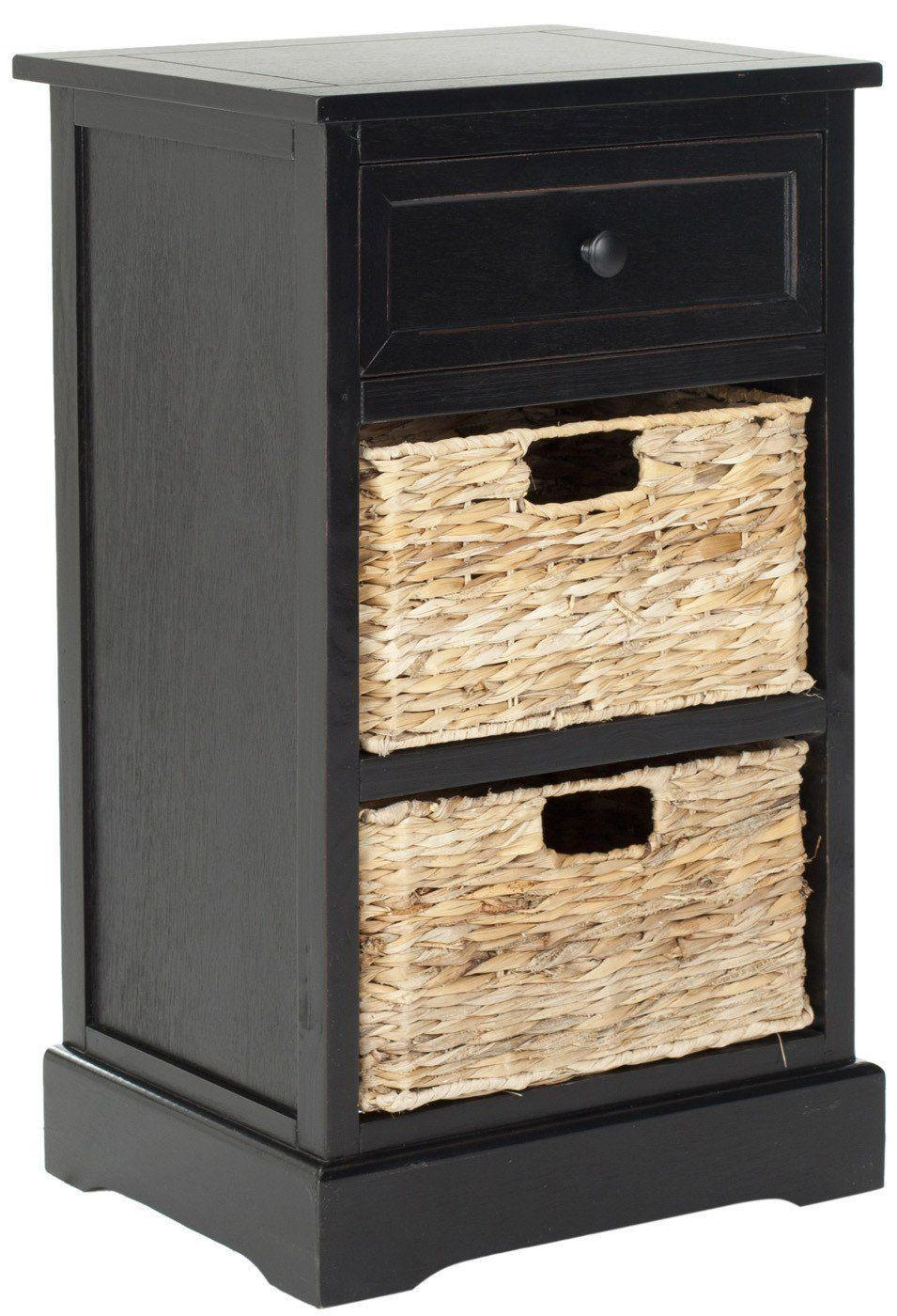 Image of Carrie Side Storage Side Table Distressed Black