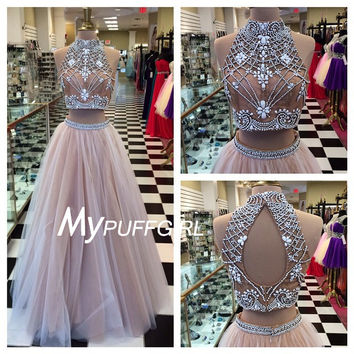 Nude Tulle High Neck Two Piece Prom Dress With Beaded Crop Top , Keyhole Back Gown