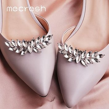 Mecresh Designer 2pcs/lot Leaf Flower Shape Crystal Bride High Heels Clips Horse Eyes Bridal Wedding Prom Shoes Buckle Women Shoe Accessories FREE SHIPPING