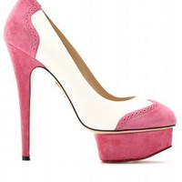 mytheresa.com -  Charlotte Olympia - SPECTATOR DOLLY SUEDE PLATFORM PUMPS  - Luxury Fashion for Women / Designer clothing, shoes, bags