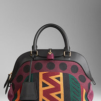 Medium Tapestry and Leather Bowling Bag