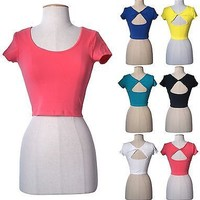 Round Neck Sexy Short Sleeve Cropped Cross Open Back Tight Belly Tee Shirt Top