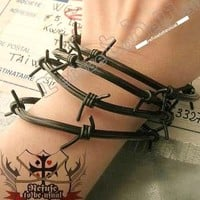 4PC LOT Punk Gothic EMO RUBBER BARBED WIRE Bracelet