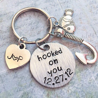 Hooked On You Customized Date & Initials Keychain - Couple Keyrings  Boyfriend/Girlfriend Accessories - Anniversary Accessories - Hooked