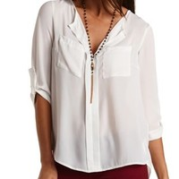 Slit-Back Chiffon Top by Charlotte Russe