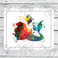 Ariel The Little Mermaid Princess Watercolor Painting Fine Art Print Poster Giclee Custom Design Disney Bedding Bedroom Nursery Home Decor