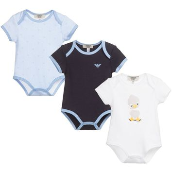 Baby Boys Set of Three Rompers (Gift Set)