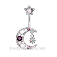 Silver Stellar Opal Moon Star Belly Button Ring Stainless Steel Body Jewelry