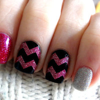 Glitter Large Pattern Chevron Nail Decals - YOU PICK COLOR - Set of 60 strips