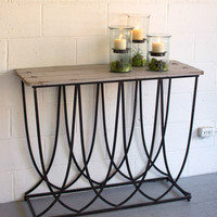 Art Deco Iron Base Console with Natural Wood Top