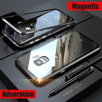 Magnetic Case sFor Samsung S9Plus Case S 9 Metal Bumper Note 9 8 S8 Transprent Glass Cover For Galaxy coque Samsung S9 Plus Case