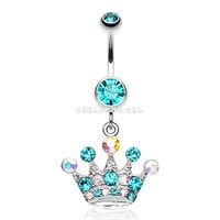 Crown Jewel Multi-Gem Belly Button Ring (Teal)