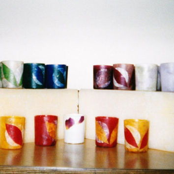 Hand Made Votive Candle Holders MANY COLORS Natural Hand Made Recycled Papers