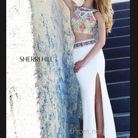 Stoned Keyhole Crop Top Formal Prom Gown By Sherri Hill 11168