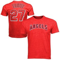 Majestic Threads Mike Trout Los Angeles Angels of Anaheim Tri-Blend T-Shirt - Red