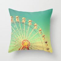 All the happy days - Carnival, ferris wheel , turquoise green, vintage retro, fall autumn, blue sky Throw Pillow by Andrea Caroline  | Society6
