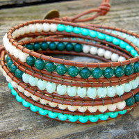 Beaded Leather 4 Wrap Bracelet with Green Toned Czech Glass Beads on Saddle Brown Leather St Patrick's Day