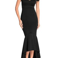 New Black Irregular High-Low Off Shoulder Backless Bodycon Mermaid Prom Evening Party Maxi Dress